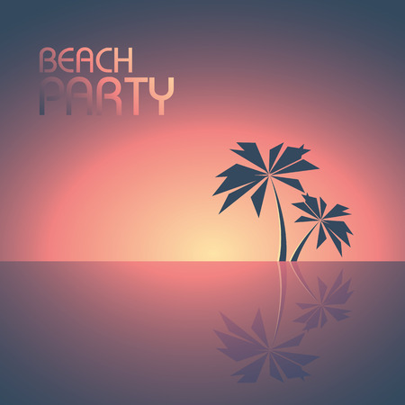 summer trees: Beach party poster template with palm trees on the horizon vector background. Summer illustration concept for travel and fun. Illustration