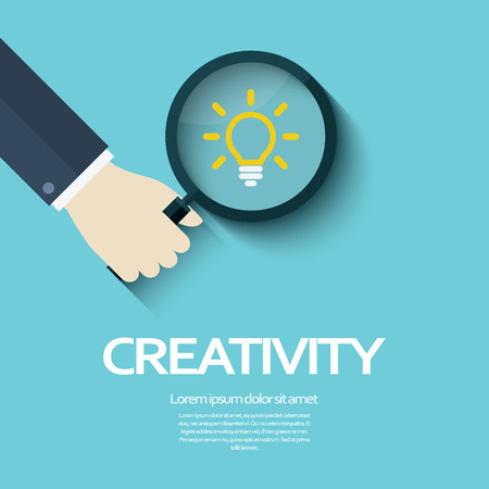 creativity symbol: Creativity concept illustration with magnifying glass and light bulb as symbol of ideas. Brainstorm and marketing activity. Illustration