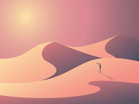 dunes: Explorer in sand dunes on a desert. Landscape vector illustration with man outdoors. Business symbol of vision, goals and ambition. Illustration