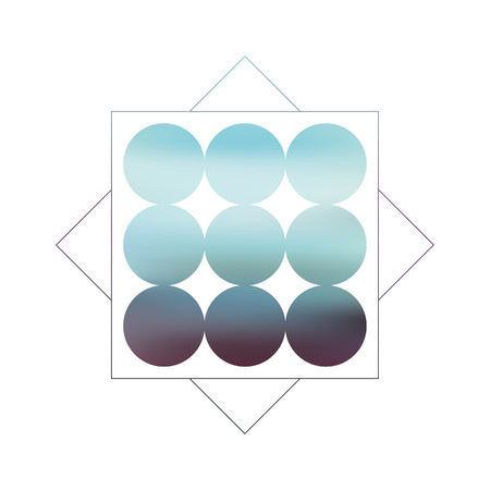 gradient background: Abstract blurred geometric background with circles and gradient fill. Retro 80s style. Blue and turquoise colors as symbol for sea, ocean, coast. Illustration