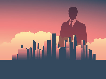 magnate: Urban skyline cityscape with businessman standing over. Double exposure illustration landscape background. Symbol of corporate world, banks and business tycoons.