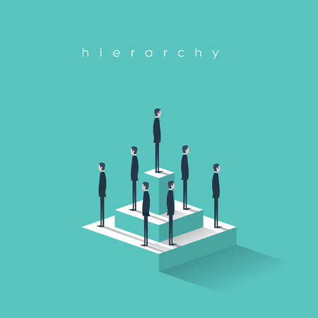hierarchy chart: Business hierarchy in company concept with businessmen standing on a pyramid. Corporate organizational chart structure.