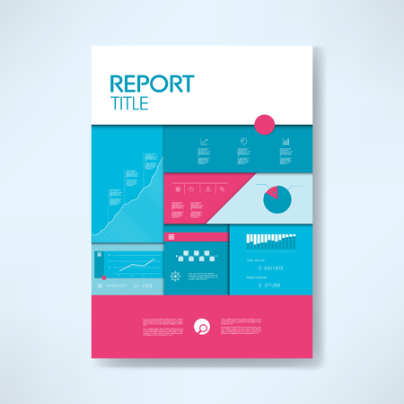 budget: Annual report cover template with business icons and elements. Pie chart, graphs, infographics layout.  illustration.