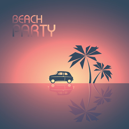sunset beach: Beach party template background for promotional posters. Retro 80s style leaflet with palm trees and a small car in sunset. illustration.