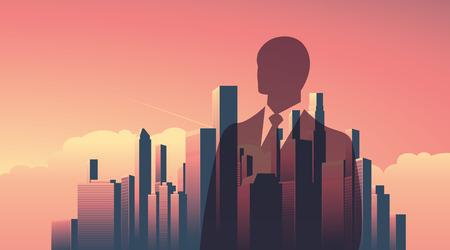 magnate: Urban skyline cityscape with businessman standing over. Double exposure illustration landscape background. Horizontal landscape orientation.  illustration. Illustration