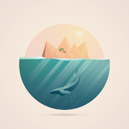 sunbeams: Summer background with underwater seascape scene and sunbeams in the ocean. Whale and tropical island elements. illustration.