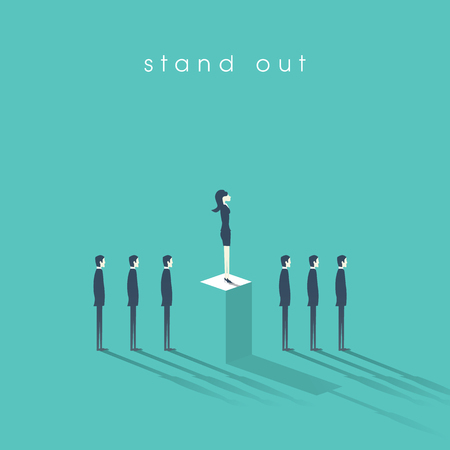 Businesswoman standing out from the crowd business concept with businessmen in line. Talent or special skills symbol. Business concept of equal opportunities.