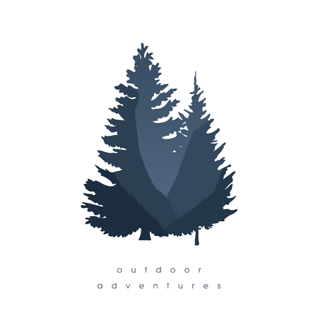 Forest illustration with double exposure of trees and canyon in background. Nature wallpaper or symbol.