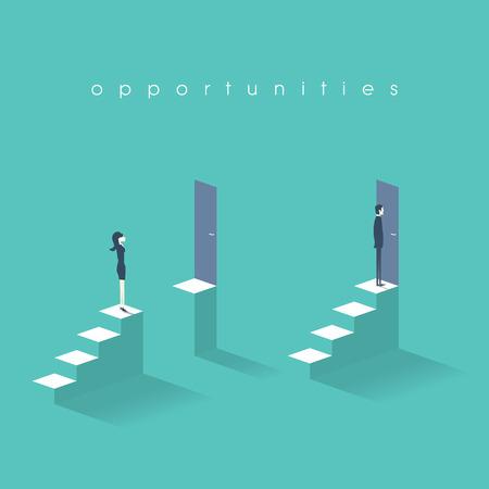 Conceito de negócio de igualdade de oportunidades com a empresária e o empresário em frente a portas em cima de escadas. Ilustración de vector