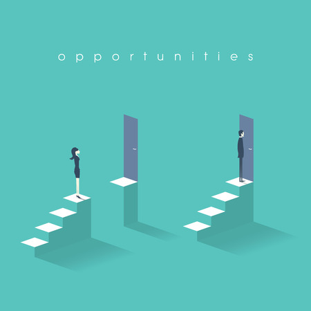 Equal opportunities business concept with businesswoman and businessman standing in front of doors on top of stairs.