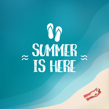 ligh: Summer background poster with sexy woman in bikini. Seasonal wallpaper of beach holiday. Illustration