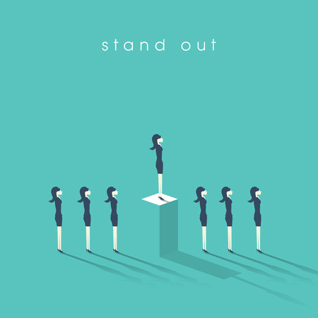 inequality: Business woman standing out from the crowd. Businesswoman and concept of equality or inequality in professional corporate work.