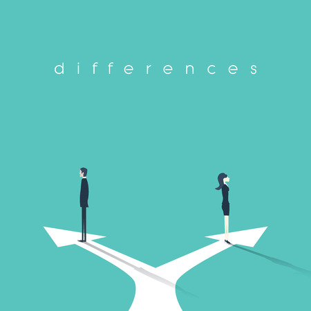 Business concept illustration of gender differences between businesswoman and businessman. Conflict, confrontation, negotiation situation