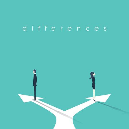 Ilustração do conceito de negócio das diferenças de gênero entre a empresária e o empresário. Conflito, confronto, situação de negociação
