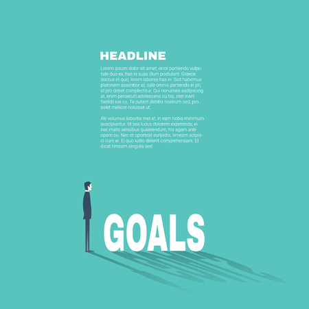 smart goals: Business goals professional presentation template with businessman illustration and space for text. Flat design style.