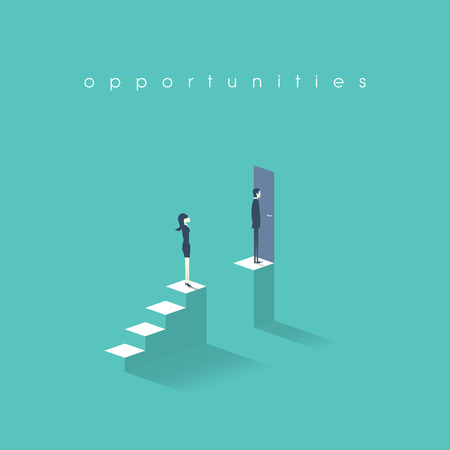 concetto di uguaglianza di genere con l'uomo contro donna simbolo. Imprenditore vs affari disuguaglianza nella carriera e nella vita professionale.