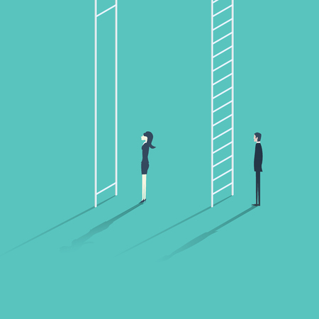inequality: Business woman versus man corporate ladder career concept illustration. Gender inequality issue with different opportunities for males and females.