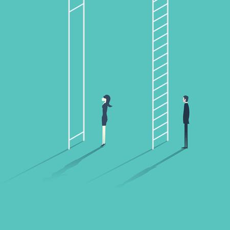 La donna di affari contro l'uomo scala aziendale carriera concetto illustrazione. Genere problema diseguaglianza con diverse opportunità per i maschi e le femmine. Vettoriali
