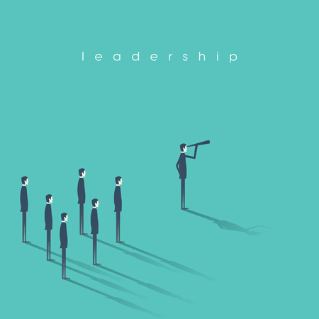 Business leadership concept illustration with businessman and telescope leading other men. Vision and success abstract symbol.