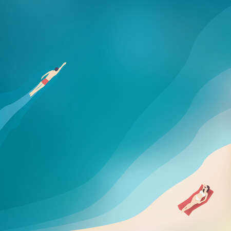 ocean view: Summer holidays illustration with sexy woman in bikini and sea, ocean view from top.