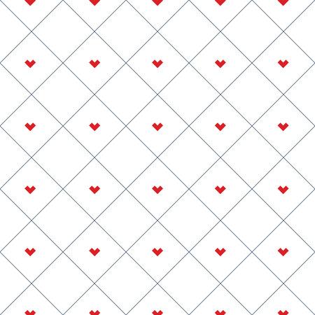 Herzmuster deckt Patchworkillustration in den Quadraten mit Ziegeln. Zusammenfassung Hintergrund Konzept.