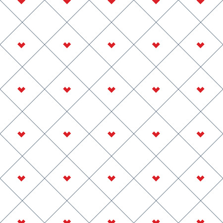 Herzmuster deckt Patchworkillustration in den Quadraten mit Ziegeln. Zusammenfassung Hintergrund Konzept. Vektorgrafik