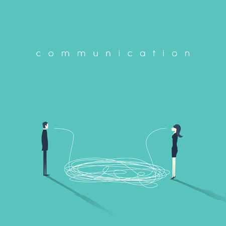 business problems: Business communication concept illustration. Issues and problems between men and women at work. Communication breakdown concept.