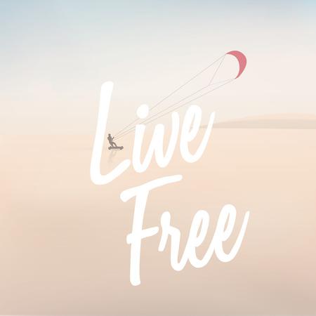 Outdoor Living gezonde sport levensstijl met kite surfer op een strand illustratie Vector Illustratie
