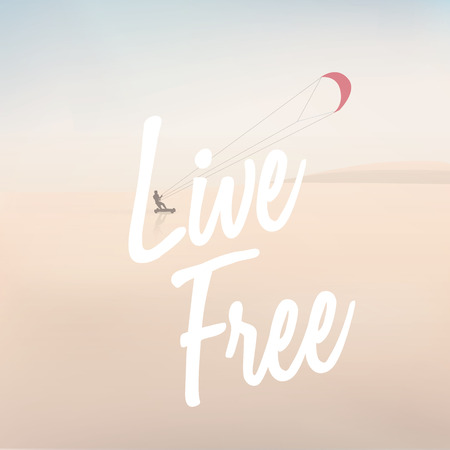 unplugged: Outdoor living healthy sport lifestyle with kite surfer on a beach illustration Illustration