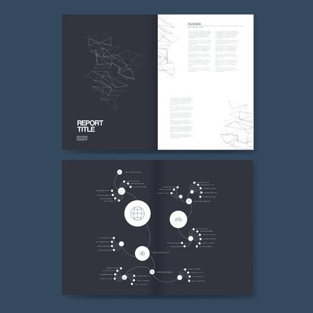 organization structure: Business brochure template with company organization structure illustration. Corporate report presentation layout