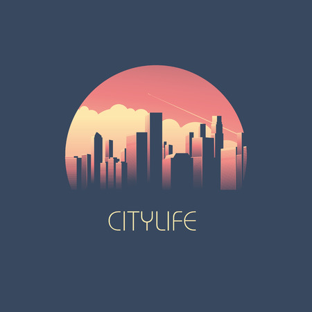 cityscapes: Modern cityscape with skyscrapers in sunrise or sunet illustration. Skyline background as business corporate symbol
