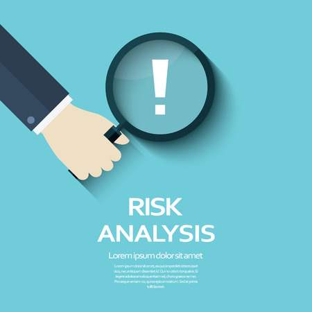 risk analysis: Risk analysis illustration background with magnifying glass and exclamation mark.