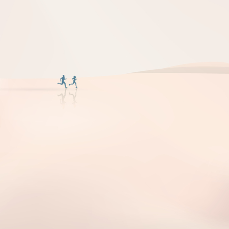 haze: Man and woman running on the beach in morning haze. Active sports lifestyle illustration with jogging couple.
