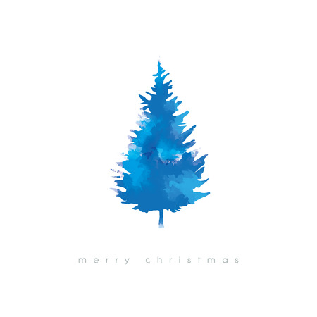 tree texture: Christmas tree vector illustration with watercolor texture. Cold winter artistic xmas card template.