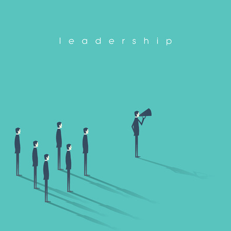 Business leadership concept vector illustration with businessman speaking on megaphone and followers.