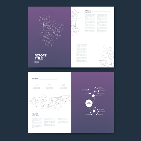 Business annual report template infographics data analysis layout for presentation. Finance icons and graphs with pie chart, timeline on line art low poly background.