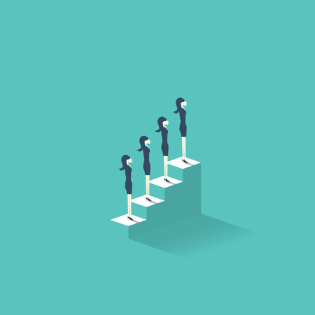 equal opportunity: Career growth vector illustration concept with businesswomen standing on stairs to the top. Emancipation symbol for women at professional working life. Illustration