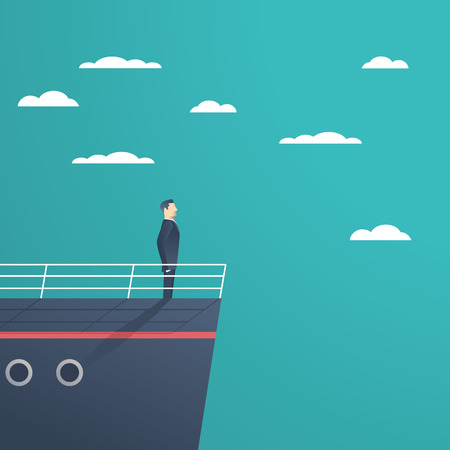 Business man standing on a ship as a symbol of leadership, professionalism and strong, powerful manager. Illustration