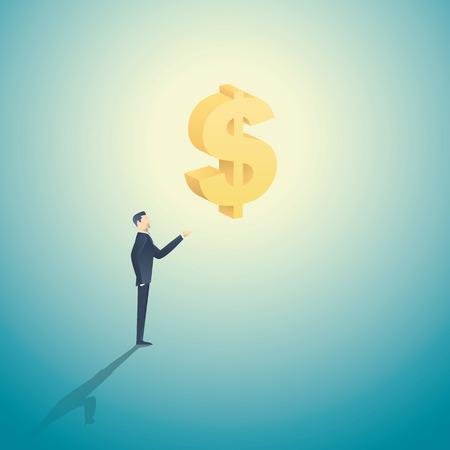 L'homme d'affaires tenant signe 3d dollar comme un symbole de l'investissement, les banques, l'argent et la cupidité, le capitalisme. Vecteurs