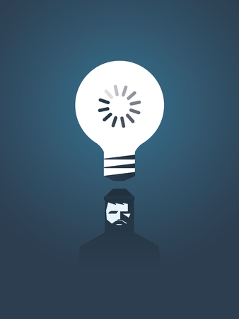 creativity symbol: Creativity concept vector illustration with lightbulb and loading sign in it over hipster graphic designer head. Symbol of thinking and creative process. Illustration