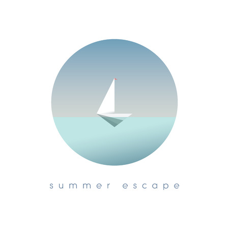 Yacht on the ocean in simple minimalistic polygonal style vector illustration. Summer vacation, holiday, escape symbol of traveling and adventure. Illustration