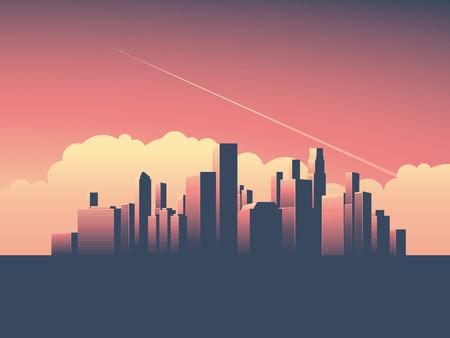 Moderne urbain vecteur paysage urbain illustration. Symbole du pouvoir, l'économie, les institutions financières, l'argent et les banques.