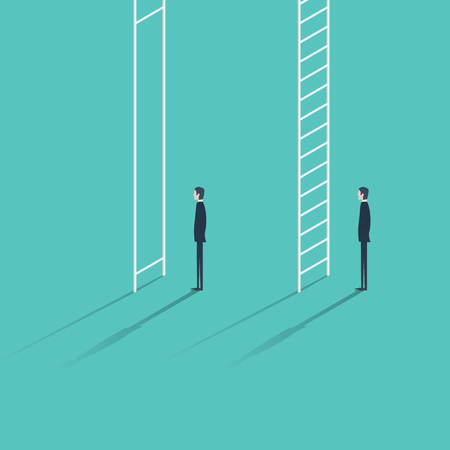 inequality: Inequality in career promotion concept. Two businessmen standing and climbing corporate ladders. Business concept of job progress.