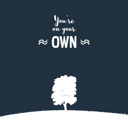 solitude: Lonely tree on a grass hill vector illustration. Nature landscape background as symbol of loneliness, solitude. Typography quote as sign of depression, sadness