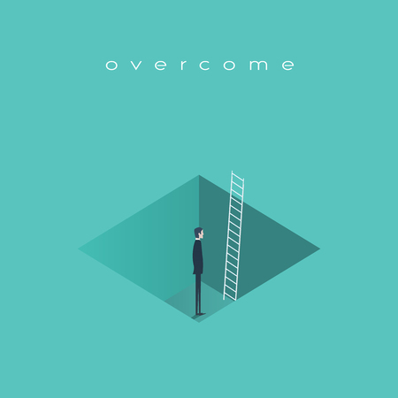 finding: Business challenge concept with man standing in a hole with ladder. Finding solution, recover from crisis symbol. Illustration
