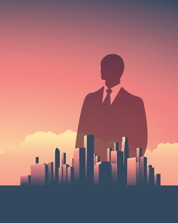 Urban skyline cityscape with businessman. Double exposure vector illustration landscape background. Vertical portrait orientation. Symbol of corporate world, banks and business tycoons.