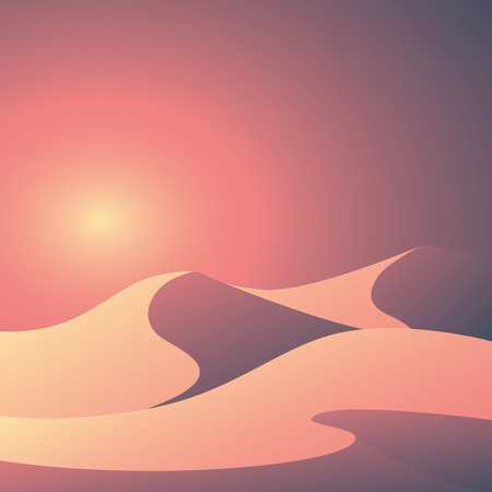 sand dunes: Desert landscape vector illustration. Beautiful colorful sunset scene with elegant curvy sand dunes and soft pastel gradients.