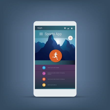 sports application: Fitness or sports tracker application graphic user interface in modern material design background with icons for menu.