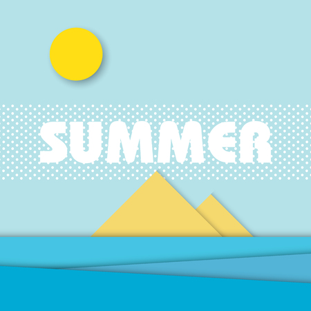materials: Material design style summer landscape vector illustration. Holiday tropical island theme with ocean.