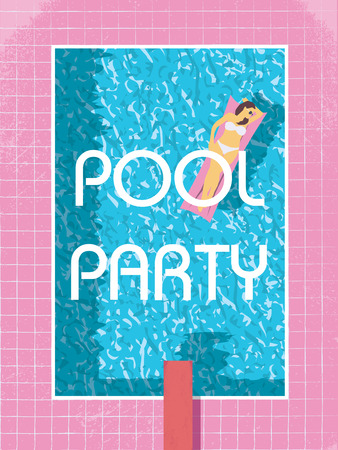 与妇女的池党海报模板晒日光浴的比基尼泳装。80s减速火箭的葡萄酒样式传染媒介例证。